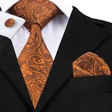 Classic Brown Gold Men's Tie Paisley Necktie Set For Wedding Jacquard Woven 1551