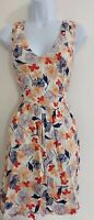 Womens Oasis Dress size 14 fit&flare cream flower summer mini holiday vgc