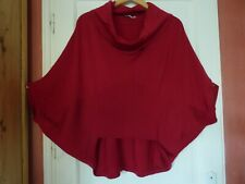 Pull poncho laine lyocell rouge Hermès Karen Millen T 3 original et luxe