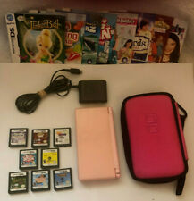 Nintendo DS Lite Pink Console - Charger - 8 Games - Carrying Case - Works 100%
