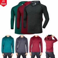 Men Hooded Hoodie Long Sleeve Shirts Sweatshirt Gym Muscle Tops T-shirt Shirt US