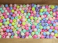 500 Mixed Pastel Color Acrylic Round Beads 6mm Smooth Ball Spacer