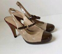Franco Sarto Reeve Multi Color Patent Peep Toe Ankle Strap Pumps Heels 6 M