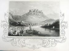 Dresden Germany KONIGSTEIN FORTRESS CASTLE Elbe River ~ 1853 Art Print Engraving
