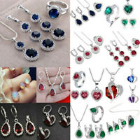 Women 925 Silver Gemstone Topaz Pendant Necklace Rings Earrings Set Jewelry Gift