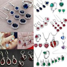 Women Rhinestone 925 Silver Waterdrop Heart Pendant Wedding Necklace Jewelry Set