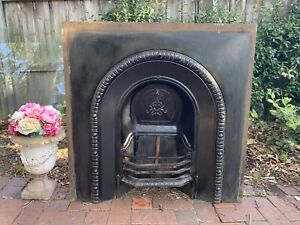 Stunning Antique Cast Iron Fireplace+Fire Grate~Decorative~c.early 1900s