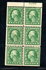 Booklet pane #424d. with plate #,1 cent perf. 10 hinge marks, toning on 1 stamp.