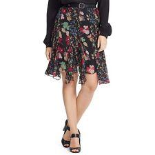Size 8 Ralph Lauren Womens Georgette Black Floral Print A-Line Skirt Summer