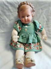 Old Vtg Caho Doll Composite Head Metal Flexible Rod Arms And Legs Green Dress