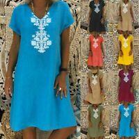 Women Summer Short Sleeve Midi Dress Ladies Cotton Blend Tunic Loose Casual Tops