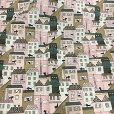 """Cat On The Roof Fabric curtain Upholstery material 3m Piece 100% Cotton 54"""""""