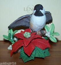 Lenox Christmas Chickadee Bird with Poinsettia Figurine Ltd Ed 1997 Mint