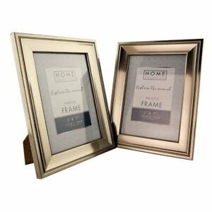 """Luxurious Pewter Photo Frame Twin Pack 5 x 7""""/ 4 x 6"""" Free Standing Frame Wall"""