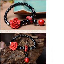 Women's Vintage Carved Lacquerware Rose Black Agate Bracelet Charm Jewellery