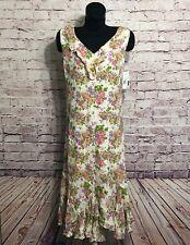 Liz Claiborne Womens Multi Color Floral Ruffled Trim Dress Size 8 100% Silk NWT