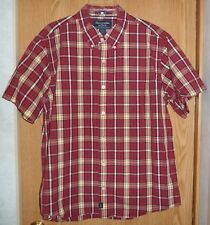ABERCROMBIE & FITCH - RED PLAID SHORT-SLEEVE SHIRT - MENS L *MUSCLE*