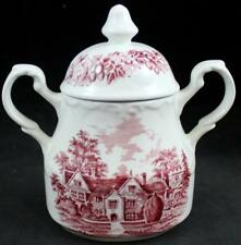 JG Meakin ROMANTIC ENGLAND RED Sugar Bowl with Lid GREAT CONDITION