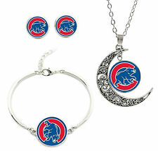 New Chicago Cubs Bear Logo Bracelet Charm Pendant Necklace and Stud Earring Set
