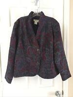 Coldwater Creek Women's Petite Large Burgundy Purple Black Down Blazer jacket