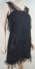 Anna Sui soie noire laine mélangée plissé Sheer Mousseline Détail Robe de soirée US4 8