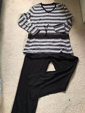 Women's Long Sleeve Black And White Cotton Pyjama Set (UK10-12/ VGC)