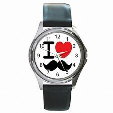 I Love Mustache Club Moustache Party Design Leather Watch New!