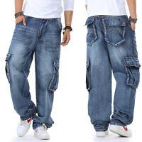 HOT Mens Jeans CargoJeans Hip Hop Pants Casual Street Wear Baggy Plus Size 30-46