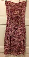 Diane Von Furstenberg Fuschia Paisley Dress Mesh Layered 100% Silk Size 6