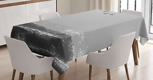 Gray Tablecloth Flying Birds on Wavy Sea Rectangular Table Cover 52 X 70 Inches