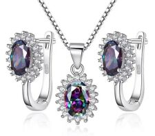 Mystic Rainbow Fire Topaz Necklace & Earrings Set Chain 925 Sterling Silver