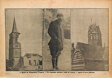 Eglise de Clézentaine Vosges Aumônier Militaire Casque  WWI 1915 ILLUSTRATION