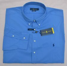 New XXL 2XL POLO RALPH LAUREN Men button down sport dress shirt blue performance