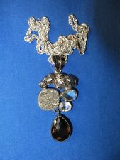 Vintage Starborn Creations Meteorite Amethyst Druzy Quartz Pendant Necklace