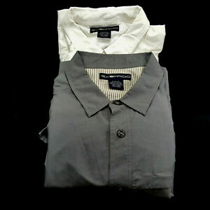 EXOFFICIO Mens XXL White LS Fly Fishing Gray Vented Button Front Camping Hiking