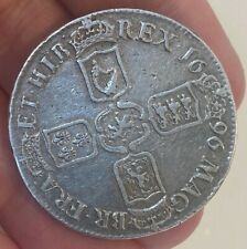 More details for superb 1696  king william iii  silver crown coin very rare in this condtion