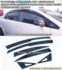Mu-gen Style Side Window + Feels Air Vent Visors (Tinted) Fits (06-11 Civic 4dr)