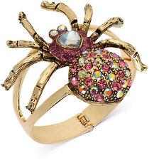 NWT Betsey Johnson Halloween Antique Gold Tone Spider Hinged Bangle Bracelet