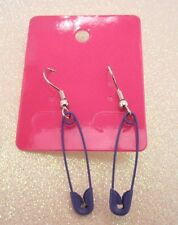 Purple Safety Pin Dangle Earrings 1 Inch Long