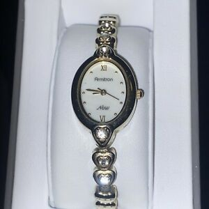 ARMITRON NOW Ladies Heart Band Watch, Mother-of-Pearls Dial, 75/3902GP Need Batt