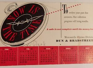 Dun & Bradstreet Ink Blotter Mercantile Claims Clock 1950 Pocket Watch Advert