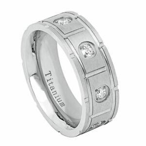 Men's 8mm Titanium Band White IP Ring Pipe Cut Brushed Cubic Zirconia CZs