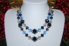 WONDERFUL CROWN TRIFARI BLUISH GLASS BEADS & RHINESTONE ON CHAIN CHOKER NECKLACE