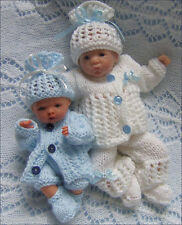 Dolls Knitting Pattern 'Timmy' Set, DK Coat, Trousers, Hat & Bootees Reborn Doll