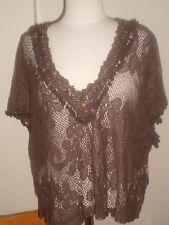 Lace knit boho hippie beads crochet brown tunic top shirt tiny pom poms  M-L