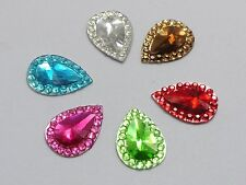 200 Mixed Color Acrylic Flatback TearDrop Rhinestone Gems 13X10mm Embellishments
