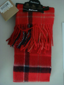 NEW With Tags Barbour Merino Wool & Cashmere Cardinal Red Tartan Plaid Scarf
