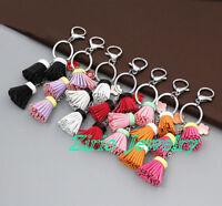 Handmade Leather Tassel Flower Key Chain Bag Purse Keyring Handbag Accessories