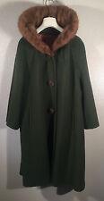 Vintage 50's 60's Green Wool Sears Fashion Coat Genuine Mink Collar USA made