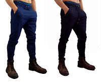Mens Cotton Trackies Skinny leg tapered Slim Joggers Pants Gym Track Fashion